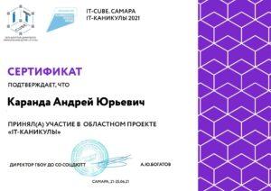 Сертификат областного проекта «IT-каникулы»
